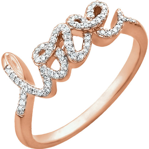 14kt Rose Gold 1/6 ct Diamond Love Ring