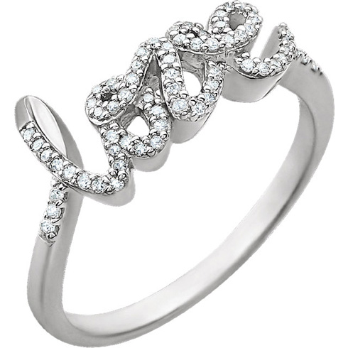 14kt White Gold 1/6 ct Diamond Love Ring