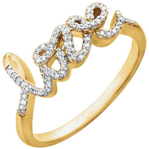 14kt Yellow Gold 1/6 ct Diamond Love Ring