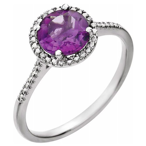 Sterling Silver 7mm Amethyst and Diamond Halo Ring