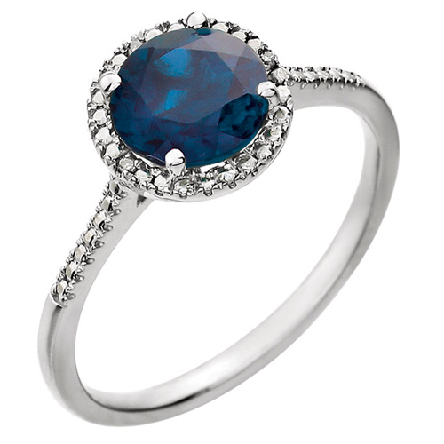 Sterling Silver Created Blue Sapphire and Diamond Halo Ring