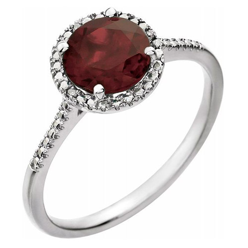 Sterling Silver 7mm Garnet and Diamond Halo Ring