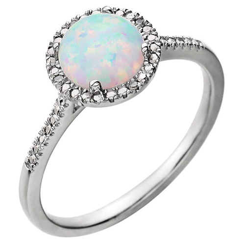 Sterling Silver Created Pink Opal and Diamond Halo Ring