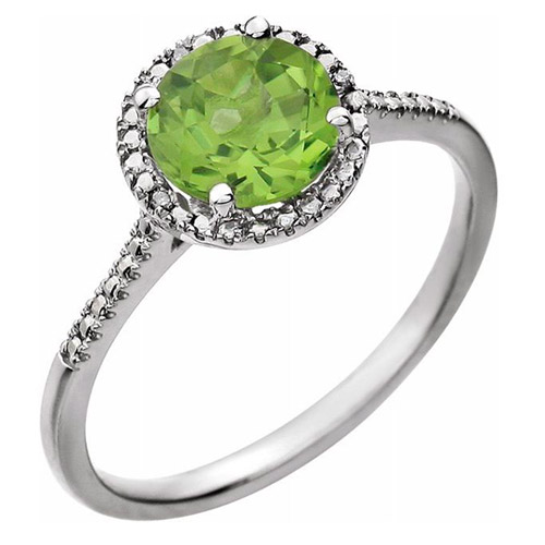 Sterling Silver 7mm Peridot and Diamond Halo Ring