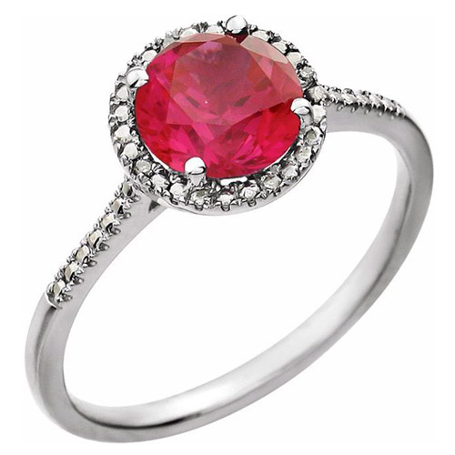 Sterling Silver 7mm Created Ruby and Diamond Halo Ring