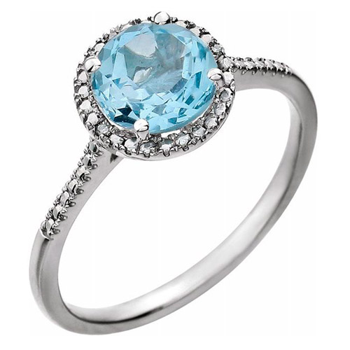 Sterling Silver 7mm Swiss Blue Topaz and Diamond Halo Ring