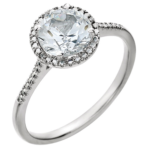 Sterling Silver Created White Sapphire and Diamond Halo Ring