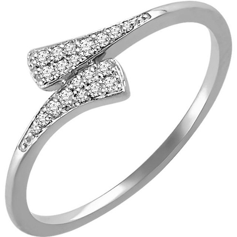 14kt White Gold 1/10 ct Diamond Tapered Bypass Ring