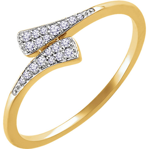 14kt Yellow Gold 1/10 ct Diamond Tapered Bypass Ring