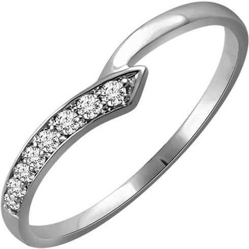 14kt White Gold 1/10 ct Diamond Slender Wedge Ring