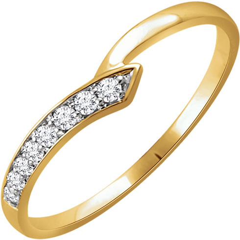 14kt Yellow Gold 1/10 ct Diamond Slender Wedge Ring