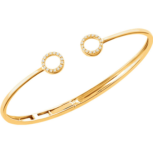 14kt Yellow Gold 1/6 ct Diamond Circle Hinged Bangle Bracelet