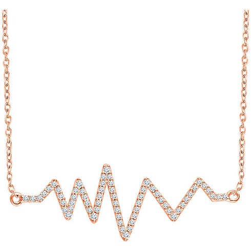 14kt Rose Gold 1/6 ct Diamond Heartbeat 18in Necklace