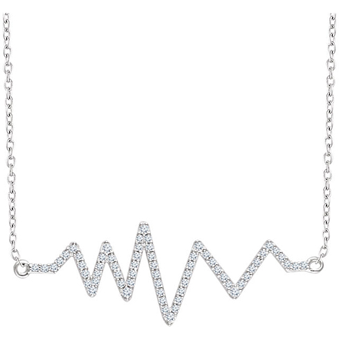 14kt White Gold 1/6 ct Diamond Heartbeat 18in Necklace