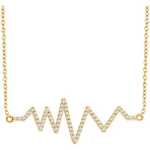 14kt Yellow Gold 1/6 ct Diamond Heartbeat 18in Necklace