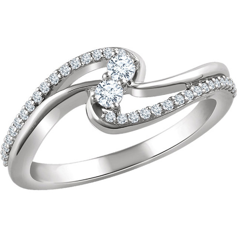 14kt White Gold 1/4 ct Diamond Bypass Two-Stone Ring