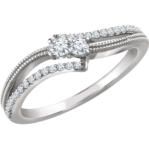 14kt White Gold 1/4 ct Diamond Two-Stone Beaded Ring
