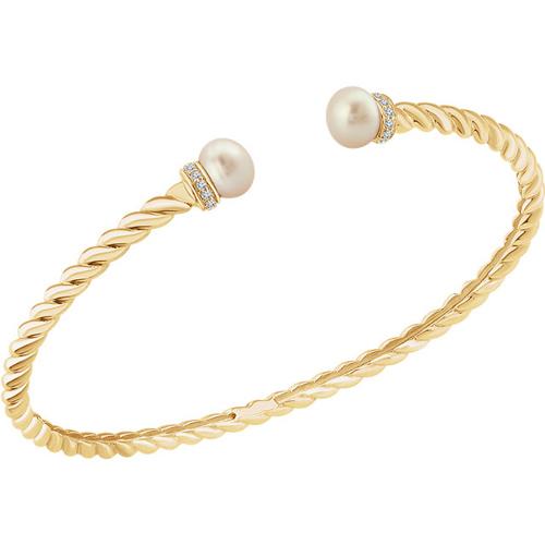 14k Yellow Gold Freshwater Cultured Pearl Diamond Bangle Bracelet
