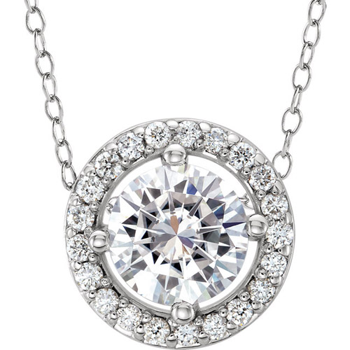 1/2 ct Forever One Moissanite Halo Necklace Diamonds 14k White Gold