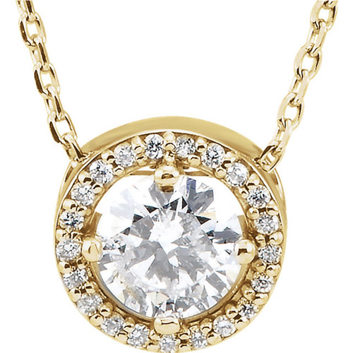 1/2 ct Forever One Moissanite Halo Necklace Diamonds 14k Yellow Gold