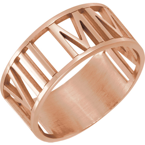 14kt Rose Gold Roman Numeral Ring