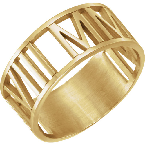 14kt Yellow Gold Roman Numeral Ring