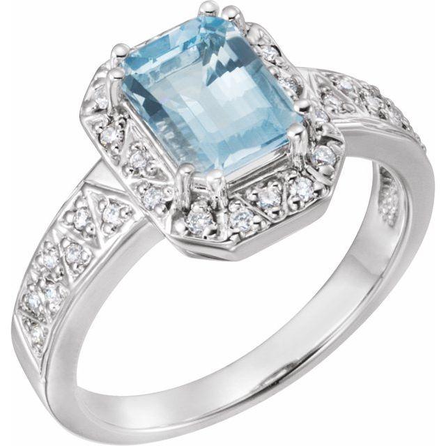 14kt White Gold 1.4 ct Emerald-cut Aquamarine and 1/6 ct Diamond Ring