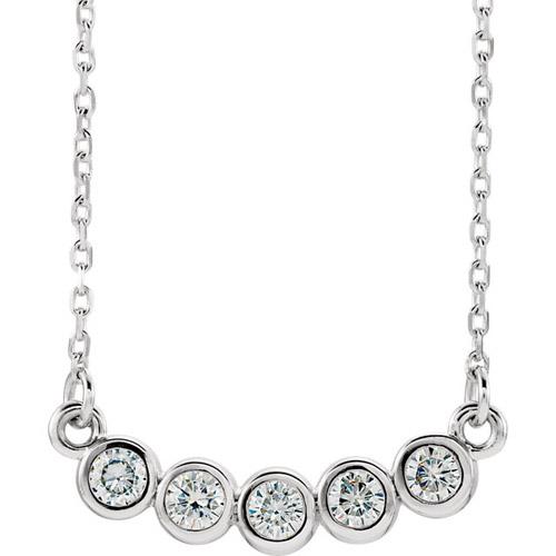 1/3 ct Forever One Moissanite Bezel Necklace 14k White Gold