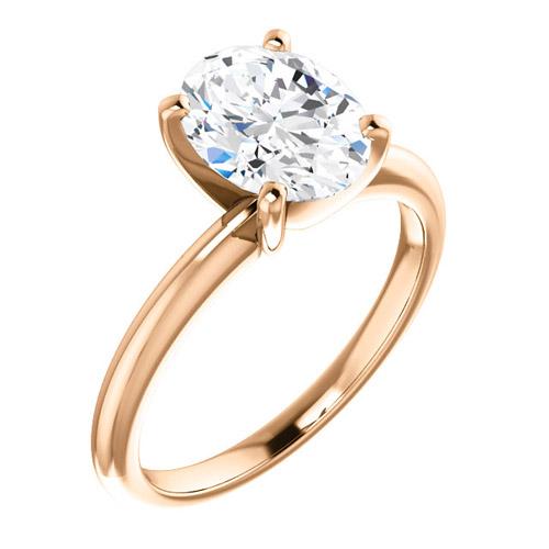 2.25 ct Forever One Oval Moissanite Ring 14k Rose Gold