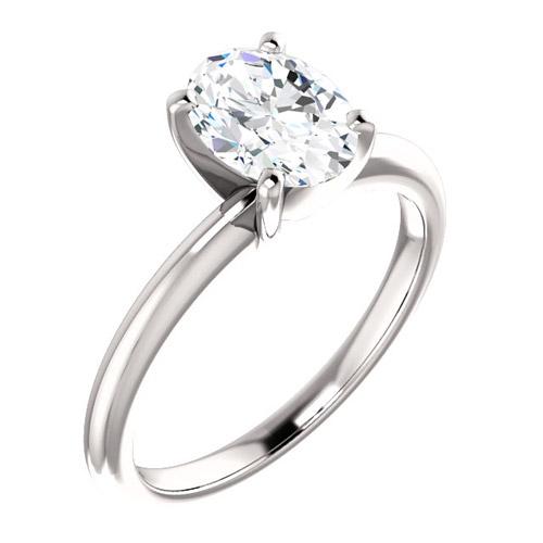 1.5 ct Forever One Oval Moissanite Ring 14k White Gold