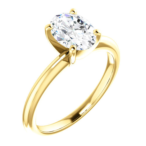 1.5 ct Forever One Oval Moissanite Ring 14k Yellow Gold