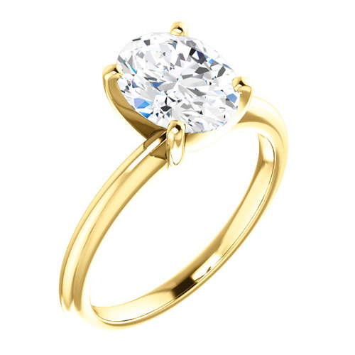 2.25 ct Forever One Oval Moissanite Ring 14k Yellow Gold