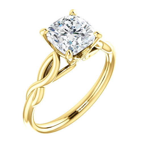 14k Yellow Gold 1.6 ct Cushion Forever One Moissanite Twist Ring