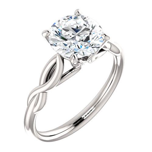 14k White Gold 2 ct Forever One Moissanite Twist Ring