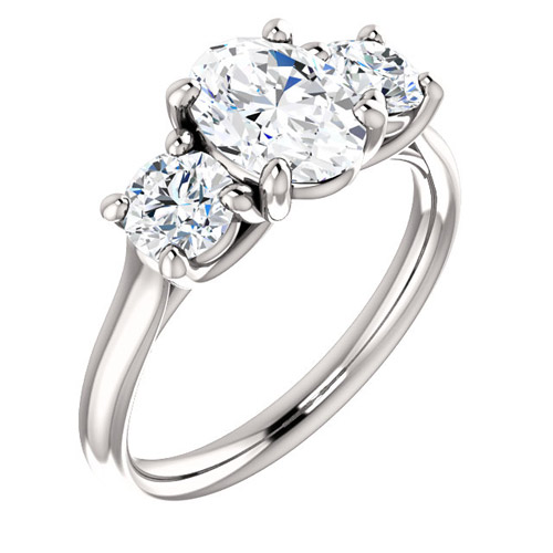 2.1 ct tw Forever One Oval Moissanite 3-Stone Ring 14k White Gold
