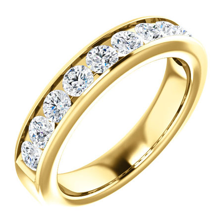 14k Yellow Gold 1 ct Forever One Moissanite Channel Anniversary Ring