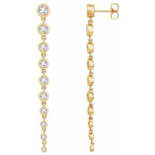14k Yellow Gold 2 ct tw Lab-Grown Diamond Bezel Drop Earrings