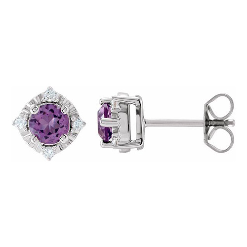 Sterling Silver 1 ct tw Amethyst Halo Earrings with Diamond Accents