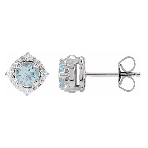 Sterling Silver .90 ct tw Aquamarine Halo Earrings with Diamonds