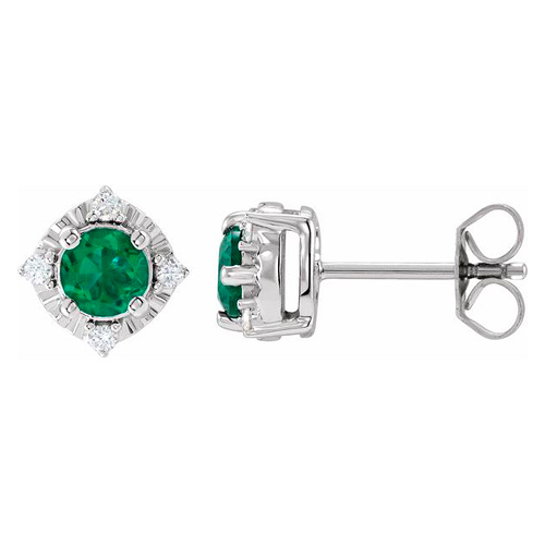 Sterling Silver 1 ct Created Emerald Halo Earrings with Diamonds