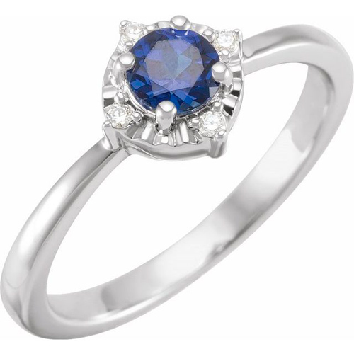 Sterling Silver .50 ct Created Blue Sapphire Ring with Diamond Accents