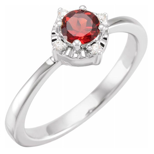 Sterling Silver .45 ct Garnet Ring with Diamond Accents