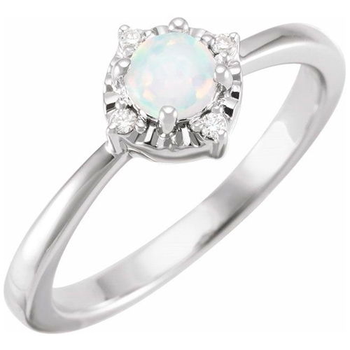 Sterling Silver .50 ct Created Opal Ring with Diamond Accents