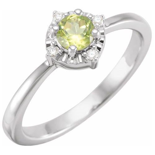 Sterling Silver .45 ct Peridot Ring with Diamond Accents