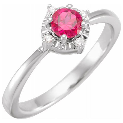 Sterling Silver .50 ct Created Ruby Ring with Diamond Accents