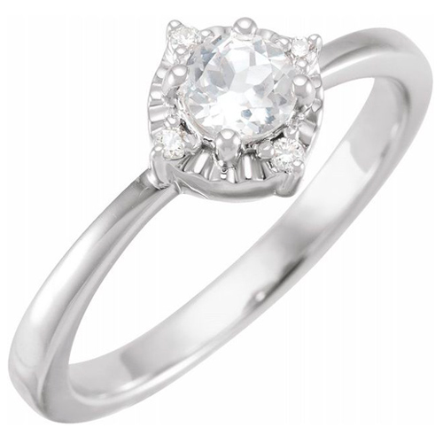 Sterling Silver .50 ct White Sapphire Ring with Diamond Accents