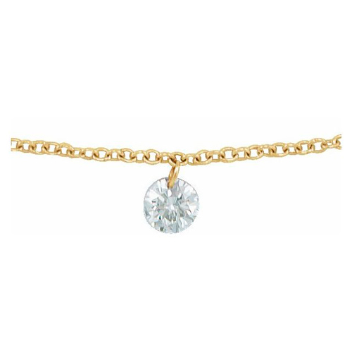 14k Yellow Gold 1/6 ct Drilled Diamond Solitaire Necklace