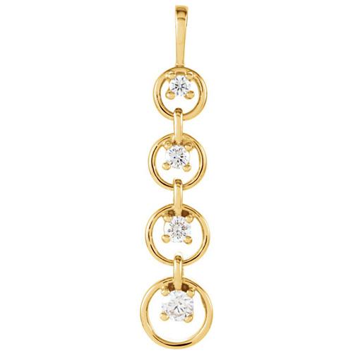 14kt Yellow Gold 1/4 ct Journey Diamond Circle Pendant