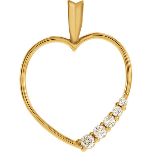 14kt Yellow Gold 1/5 ct Journey Diamond Heart Pendant