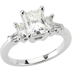 14kt White Gold 2 CT Radiant Cut Moissanite and 1/6 CT Diamond Ring